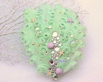 Midsummer Mint Fascinator mint hair clip, mermaid hair clip, fairy hair clips, dance costumes, hairpiece, mermaid fascinator, YOUR CHOICE