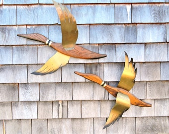 Vintage Indoor Flying Birds Mid Century Modern Pair of Wall Decor Brass and Wood Ducks MCM