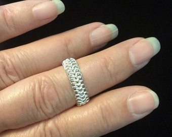 Sterling silver chain maille  ring