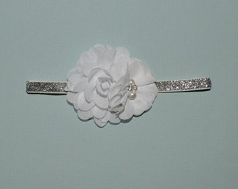 White Flower Baptism Headband Christening BlessingBaby Toddler Headband Flower Girl Spring Summer partiotic 4th of July