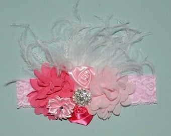 Pink Princess Flower Boutique Headband Valentines Baby Toddler Headband Flower Girl New Years Glitter Lace Ostrich Feathers