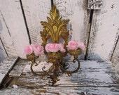Antique Vintage Florentine Gold Gilt  Rose Wooden Wall Hanging Carved Sconce
