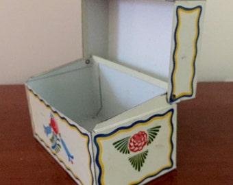 SALE-1960's Shabby Chic Scandinavian Painted Recipe Box