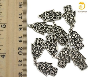 10 Hamsa Charms- for Jewelry Making, Scrapbooking