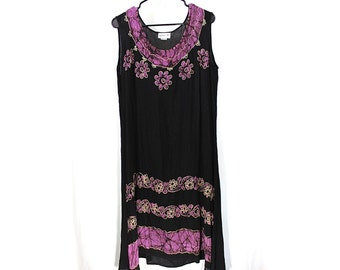 ON SALE Black and Purple Embroidered Hand Dyed Hippie Floral Dress