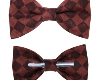 Chocolate Brown Diamond and Argyle Clip On Cotton Bow Tie ~ Men's or Boys Sizes