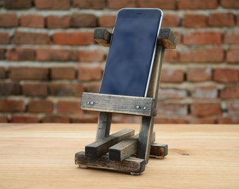 Dock for phone, Docking station for iPhone, Shabby Chic Mobile phone stands, Cellphone holder, Wooden iPhone Charging Station Desk Organiser