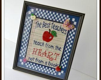 Teachers gift, teachers appreciation gift, embroidered teachers gift  handmade USA