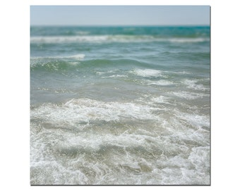 Michigan Beach Photography, Great Lakes Photography, Aqua Blue Water Print, Large Wall Art, Teal, Blue, Tan Sandy Beach