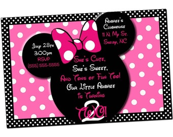 Minnie Mouse Invitations, Minnie Mouse Birthday, Pink Minnie Mouse invitations, Minnie Mouse party, Minnie Mouse Thank you card
