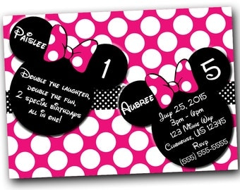 Minnie Mouse Invitation, Minnie Mouse Birthday, Pink Double Minnie Mouse invitations, Minnie Mouse party, Minnie Mouse Thank you card