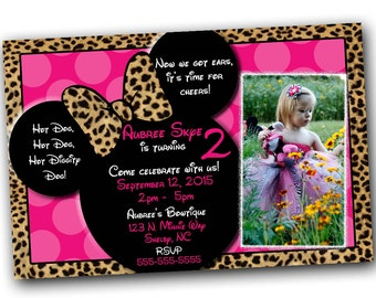 SALE Pink Cheetah Minnie Mouse Invitations with FREE Thank you card