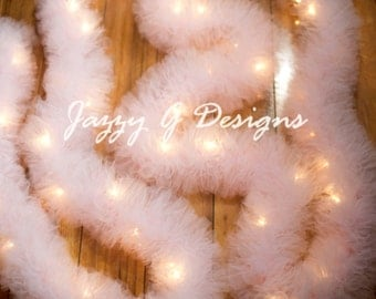 Very Light Pink Lighted Tulle Garland-Wedding Garland-Wedding Decor-Wedding Reception Decor-Party Decoration