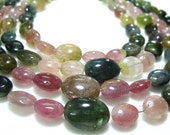 "Organic Tourmaline Smooth Oval NUggets- 10"" Strand -Stones measure- 5-9mm"
