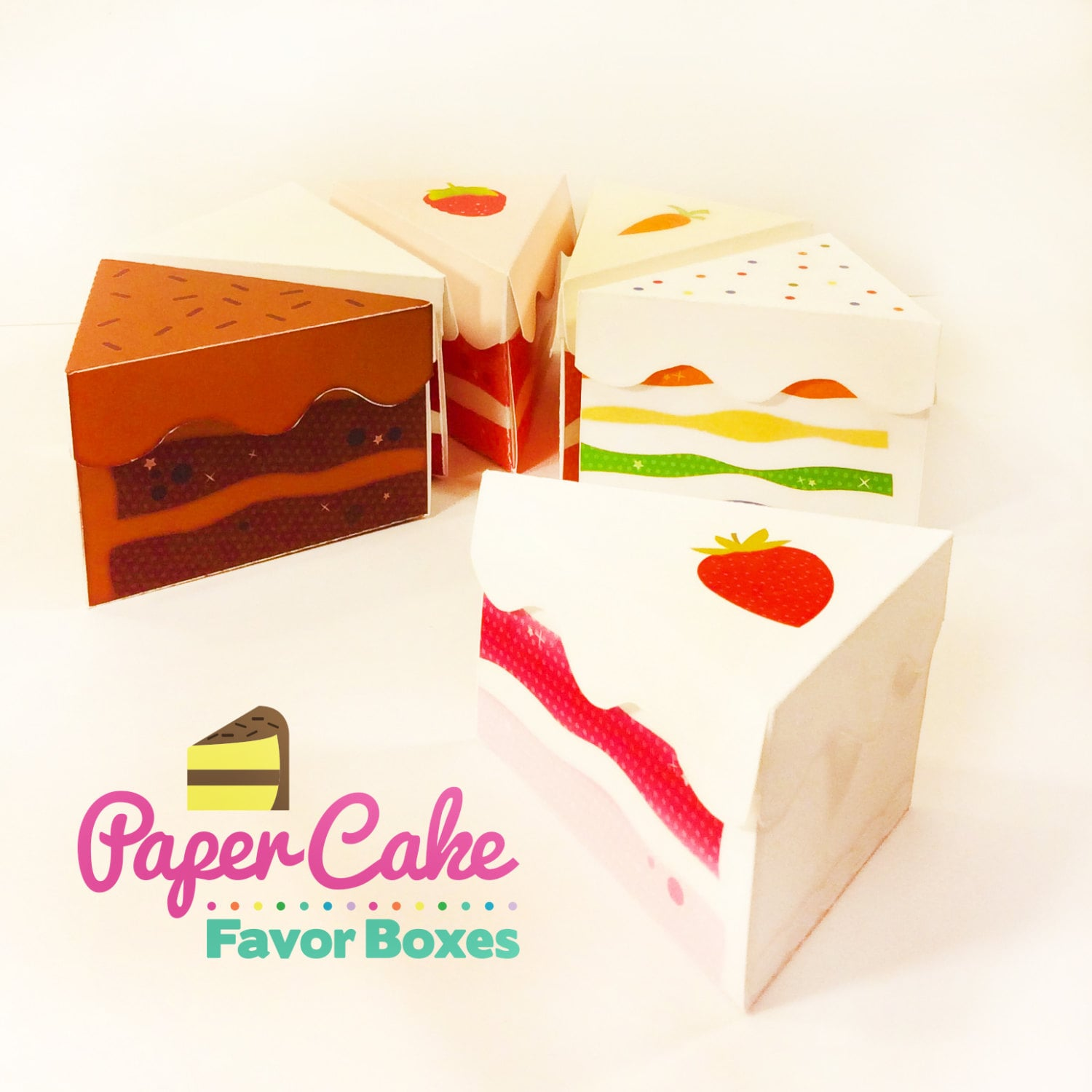 Etsy Cake Favor Boxes : Paper cake slice favor box party by starcitydesigns