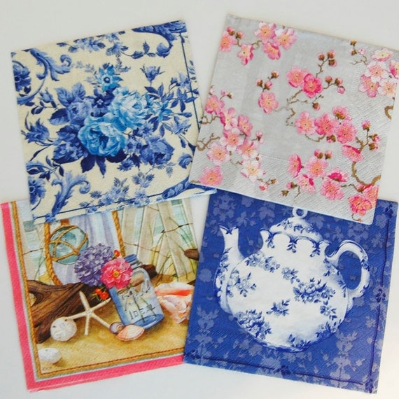 craft ideas with paper napkins decoupage napkins blue and silver 4 different paper 6335