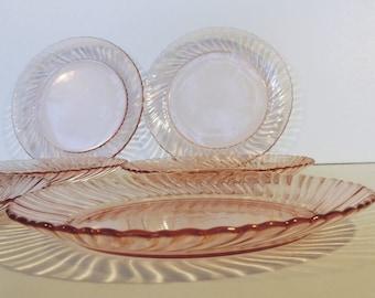 Arcoroc, rosaline, pink glass side plates, set of 6