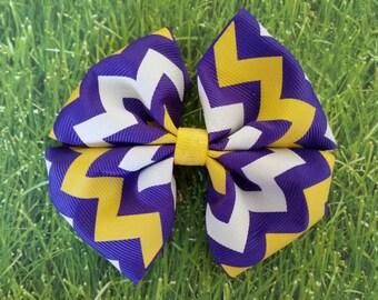 Purple, Yellow, & White Chevron hair bow