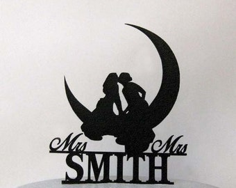 Personalized Wedding Cake Topper - Same Sex, Lesbian Kissing on the Moon Wedding with Mrs & Mrs last name