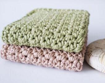 Wash Cloth . Crochet Cotton Wash Cloth . Dish Cloth . Set of Two . Ready to ship
