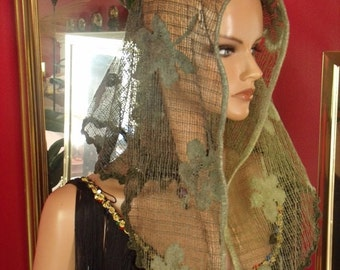 Green  Aristocratic Mantilla Veil French style Church Wrap