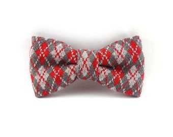 Argyle knit clip on bow tie – gray, red, and white cotton jersey – mens or womens – preppy hipster clip-on bowties
