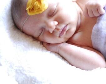 Mustard baby headband, tie back headband