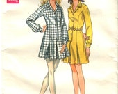 60s Shirt Dress Pattern Butterick 5612 Size 14 Bust 36 One Piece Dress Inverted Front/Back Pleats Vintage 60s Sewing Pattern Uncut