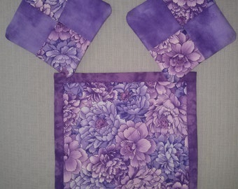 PURPLE COASTERS 2 and MUG Mat  Reversible 100 Percent  Cotton, Handmade,Quilted