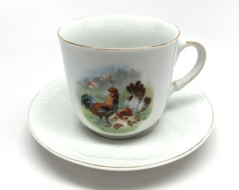 German Childs Cup and Saucer, Transfer Art, Rooster, Chicken and Chicks, 1900