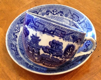"""Ridgways """"Willow-Blue"""" Cup and Saucer"""