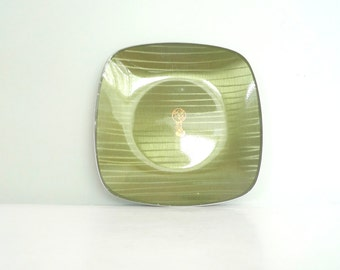 Cathrineholm Green Plate - Norway 1960s Cathedral plate Mid Century Modern Retro