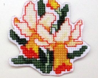March jonquil cross stitch magnet