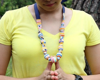 Fabric Necklace, Chomping, Teething, Nursing Necklace - Color Block Stripe