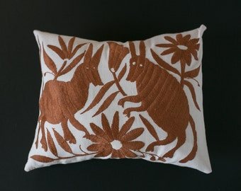 copper brown otomi embroidered pillow cover