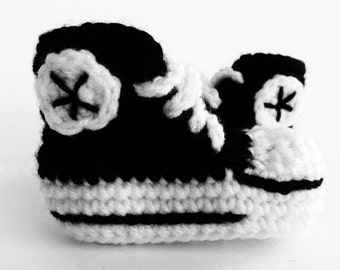 Black crochet baby converse booties, baby converse slippers, custom converse, shower gift
