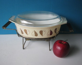 Pyrex Golden Hearts Casserole - Promotional -  Warming Stand -  Vintage 1960's