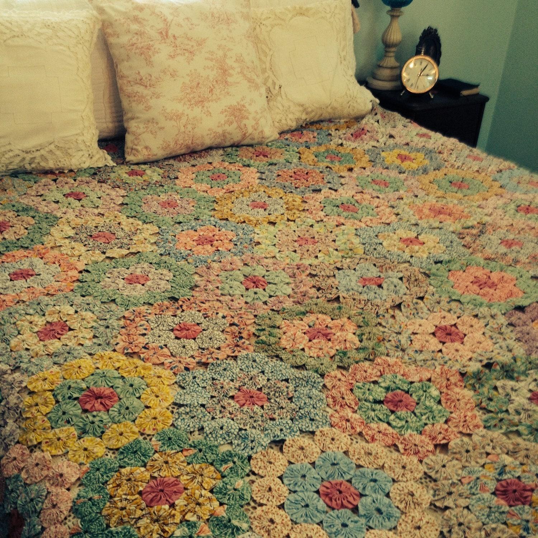 Vintage Gorgeous Grandmother 39 S Flower Garden Quilt