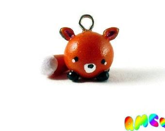 Miniature Fox Polymer Clay Charm, Tiny Animals, Kawaii Fox Charm, Chibi Fox Charm, Kitsune, Tiny Fox