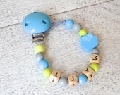 Owl Pacifier clip, blue pacifier clip, personalized name pacifier clip, beaded pacifier clip, soother clip, boy pacifier clip, owl nursery