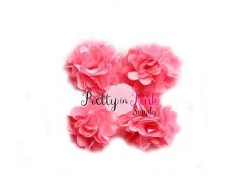 Pink Lemonade Satin Mesh Flowers You Choose Quantity...Mini Satin Mesh Flowers...Satin Flowers..Tulle Flowers...Silk Flower