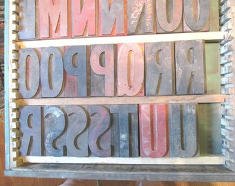 1 Letterpress Letter or Number Vintage Wood Printer's Block Typeset Letter Punctuation Primitive Decor