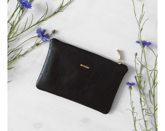 Black Clutch, Leather purse, Every day black zipper clutch, Leather clutch