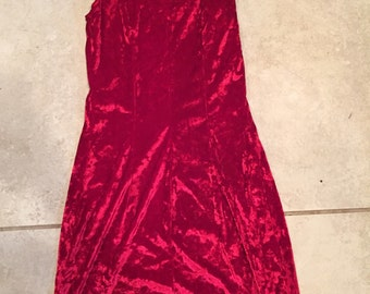 Vintage 90's Red Crushed Velvet Sweetheart Back Bodycon Dress XS body con