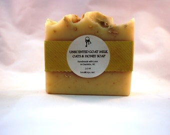 Unscented Goat Milk with Oats & Honey Cold Process Handmade Soap