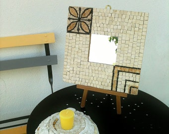 Square mirror in white mosaic