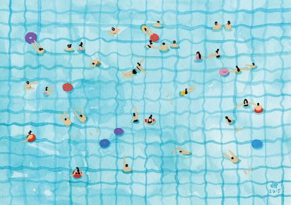 Art Print of original Watercolor painting - 'Swimming pool'