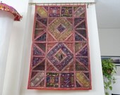 "Indian ethnic wall tapestry. Patchwork and Embroidery. Indian home decor- tapestry wall hanging- ""ReddJazz"". Fabric Tapestry. . Artikrti"