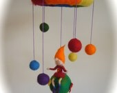 Mobile .Rainbow,Bedtime Story,Felted.  Waldorf