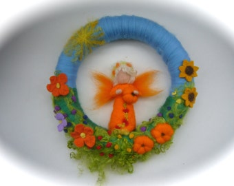 Late sommer Wreath. Fairy.Elf.  Needle Felted. Waldorf.Wool